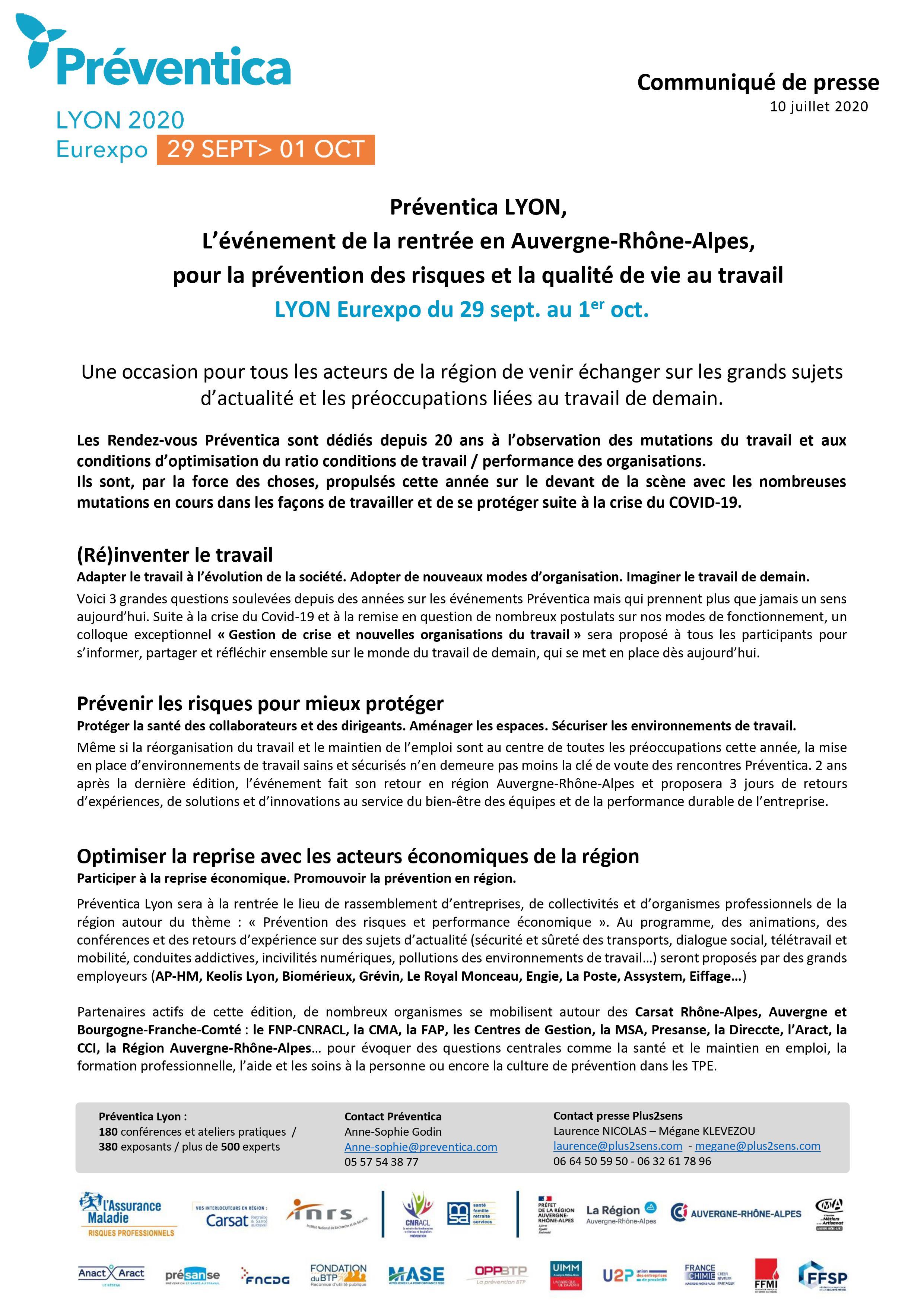 communiqué de presse Salon Preventica 2020